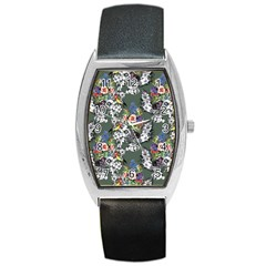 Vintage flowers and birds pattern Barrel Style Metal Watch