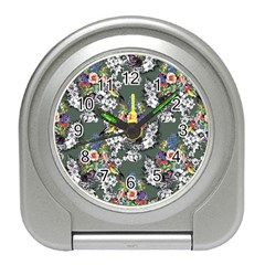 Vintage flowers and birds pattern Travel Alarm Clock
