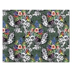 Vintage flowers and birds pattern Rectangular Jigsaw Puzzl