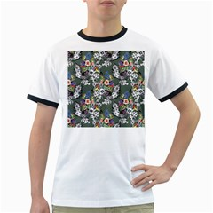 Vintage flowers and birds pattern Ringer T
