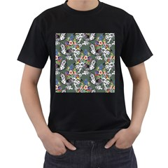 Vintage flowers and birds pattern Men s T-Shirt (Black) (Two Sided)