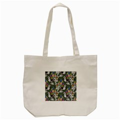 Vintage flowers and birds pattern Tote Bag (Cream)