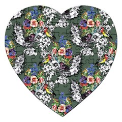 Vintage flowers and birds pattern Jigsaw Puzzle (Heart)