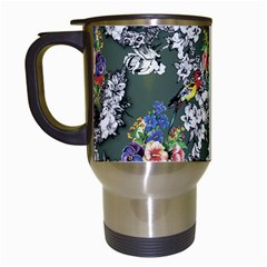Vintage flowers and birds pattern Travel Mugs (White)