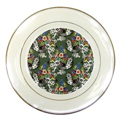 Vintage flowers and birds pattern Porcelain Plates