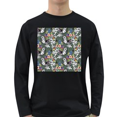 Vintage flowers and birds pattern Long Sleeve Dark T-Shirt