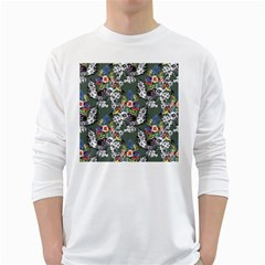 Vintage flowers and birds pattern Long Sleeve T-Shirt