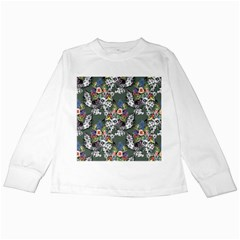 Vintage flowers and birds pattern Kids Long Sleeve T-Shirts
