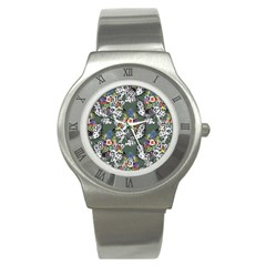 Vintage flowers and birds pattern Stainless Steel Watch