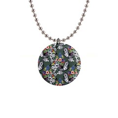 Vintage flowers and birds pattern 1  Button Necklace