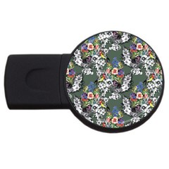 Vintage flowers and birds pattern USB Flash Drive Round (4 GB)
