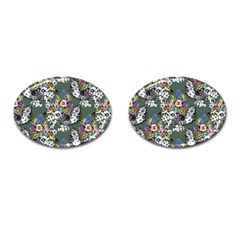 Vintage flowers and birds pattern Cufflinks (Oval)