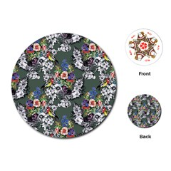 Vintage flowers and birds pattern Playing Cards (Round)