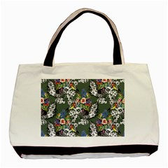 Vintage flowers and birds pattern Basic Tote Bag