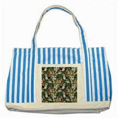 Vintage flowers and birds pattern Striped Blue Tote Bag