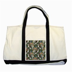 Vintage flowers and birds pattern Two Tone Tote Bag