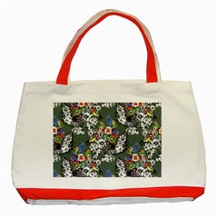 Vintage flowers and birds pattern Classic Tote Bag (Red)
