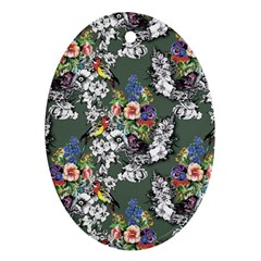 Vintage flowers and birds pattern Oval Ornament (Two Sides)