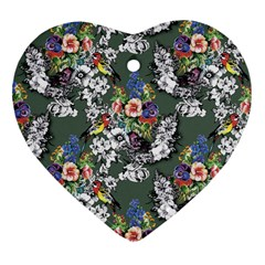 Vintage flowers and birds pattern Heart Ornament (Two Sides)