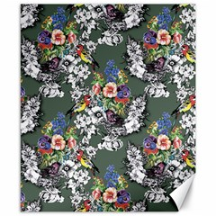 Vintage flowers and birds pattern Canvas 8  x 10