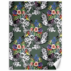 Vintage flowers and birds pattern Canvas 12  x 16