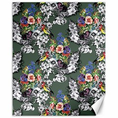 Vintage flowers and birds pattern Canvas 16  x 20