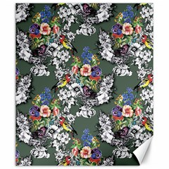 Vintage flowers and birds pattern Canvas 20  x 24