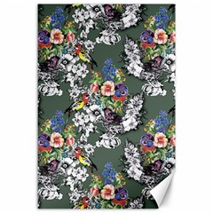 Vintage flowers and birds pattern Canvas 24  x 36