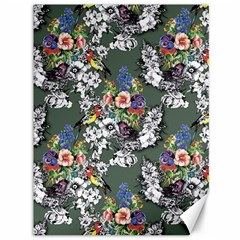 Vintage flowers and birds pattern Canvas 36  x 48