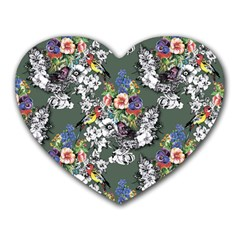 Vintage flowers and birds pattern Heart Mousepads