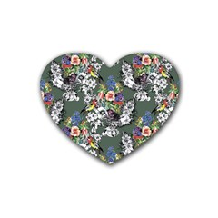 Vintage flowers and birds pattern Rubber Coaster (Heart)