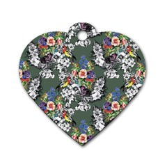 Vintage flowers and birds pattern Dog Tag Heart (One Side)