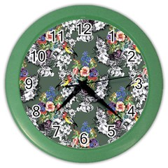 Vintage flowers and birds pattern Color Wall Clock