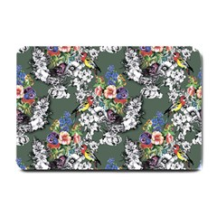 Vintage flowers and birds pattern Small Doormat