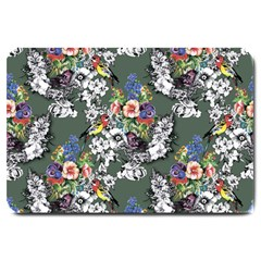 Vintage flowers and birds pattern Large Doormat
