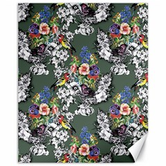 Vintage flowers and birds pattern Canvas 11  x 14