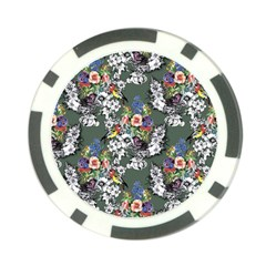 Vintage flowers and birds pattern Poker Chip Card Guard