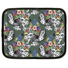 Vintage flowers and birds pattern Netbook Case (Large)