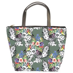 Vintage flowers and birds pattern Bucket Bag