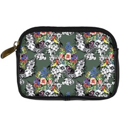 Vintage flowers and birds pattern Digital Camera Leather Case