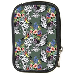 Vintage flowers and birds pattern Compact Camera Leather Case
