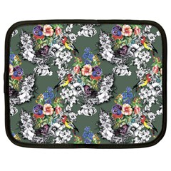 Vintage flowers and birds pattern Netbook Case (XL)