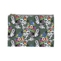 Vintage flowers and birds pattern Cosmetic Bag (Large)