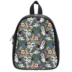 Vintage flowers and birds pattern School Bag (Small)
