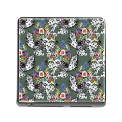 Vintage flowers and birds pattern Memory Card Reader (Square 5 Slot)