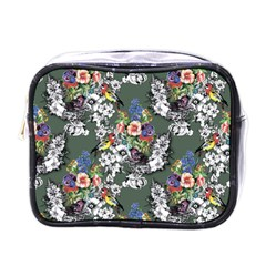 Vintage flowers and birds pattern Mini Toiletries Bag (One Side)
