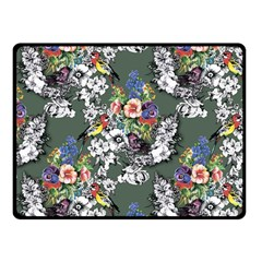 Vintage flowers and birds pattern Fleece Blanket (Small)