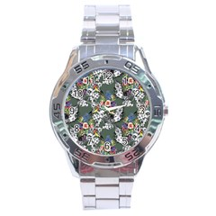 Vintage flowers and birds pattern Stainless Steel Analogue Watch