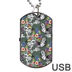 Vintage flowers and birds pattern Dog Tag USB Flash (Two Sides)