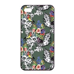Vintage flowers and birds pattern iPhone 4/4s Seamless Case (Black)